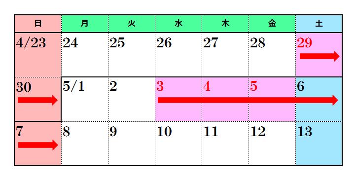 Resultado de imagen de カレンダー 5連休